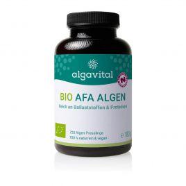 Algavital Bio Afa Algen, 720 Presslinge à 250mg, dunkle Dose mit meerfarbenen Aufdruck auf weißen Hintergrund