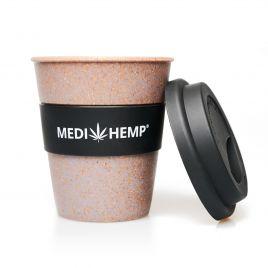 MEDIHEMP to Go Becher, Schwarz-Braun aus Bambusfasern mit schwarzem Silikon