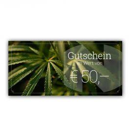 Hanfblätter aufgedruckt auf Papier, Titel: Gutschein im Wert von EUR 50,-