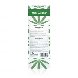MEDIHEMP Bio Hanftee Felina, 40g, weiße Verpackung mit grünen Hanfblättern auf weißen Hintergrund