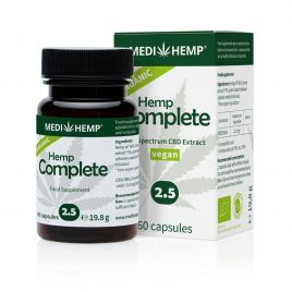 Medihemp Bio Hemp Complete Capsules 2.5%, 60 pieces in green bottle in front. Behind it can be found the box of food supplement with white background