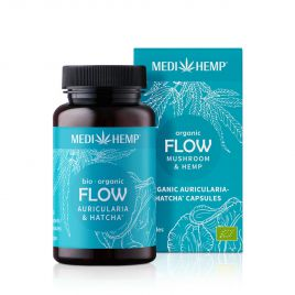 MEDIHEMP Flow Auricularia Hatcha capsules, 120 pcs., brown tin with aqua-blue label next to aqua blue box