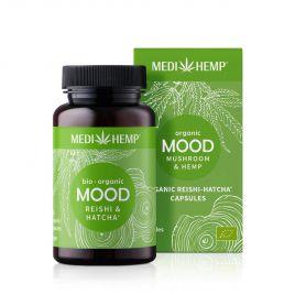 MEDIHEMP Mood Reishi-Hatcha capsules, 120 pcs., brown tin with grass-green label next to grass-green box