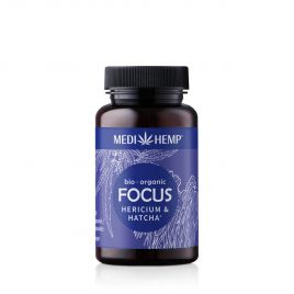 MEDIHEMP Focus Hericium-Hatcha capsules, 120 pcs., brown tin with dark blue label next to dark blue box