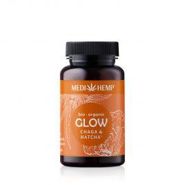 MEDIHEMP Glow Chaga-Hatcha capsules, 120 pcs, brown tin with orange label next to orange box