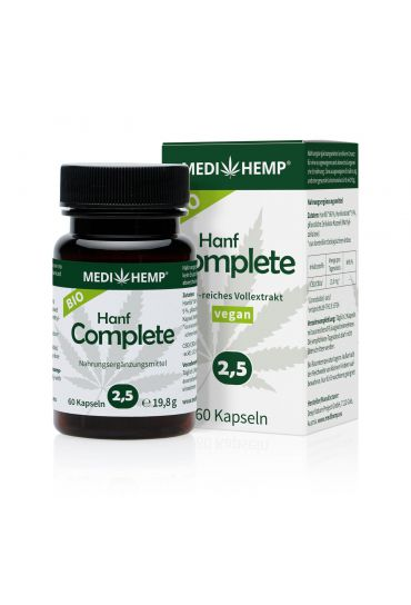 Medihemp Bio Hemp Complete Capsules 2.5%, 60 pieces in green bottle in front. Behind it can be found the box of pills with white background