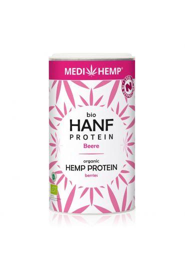 MEDIHEMP Organic Hemp Protein Berries, 180g, white packaging with magenta hemp leaves on white background