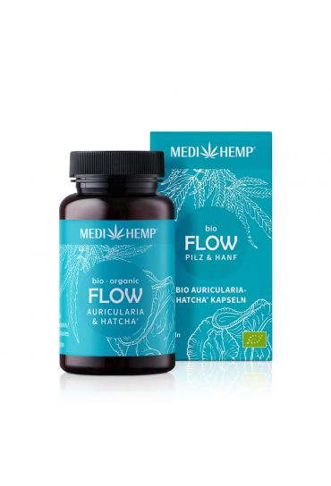 MEDIHEMP Flow Auricularia Hatcha Kapseln, 120 Stk., braune Dose mit aqua-blauen Etikett