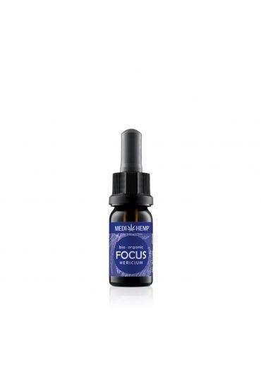 MEDIHEMP Focus Hericium-Extrakt & Hanf, 10ml, braune Flasche mit dunkelblauen Etikett