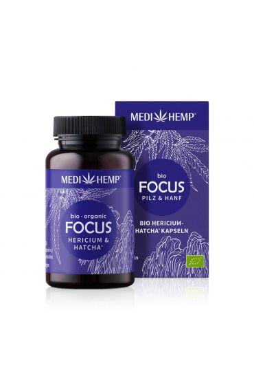 MEDIHEMP Focus Hericium-Hatcha Kapseln, 120 Stk., braune Dose mit dunkelblauen Etikett