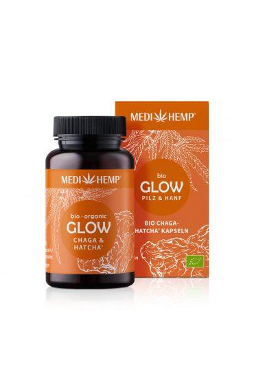 MEDIHEMP Glow Chaga-Hatcha Kapseln, 120 Stk., braune Dose mit orangen Etikett