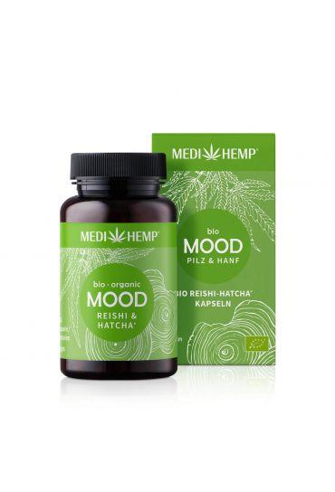 MEDIHEMP Mood Reishi-Hatcha Kapseln, 120 Stk., braune Dose mit grassgrünem Etikett